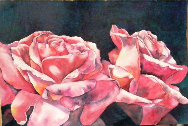 Watercolor Roses Poster
