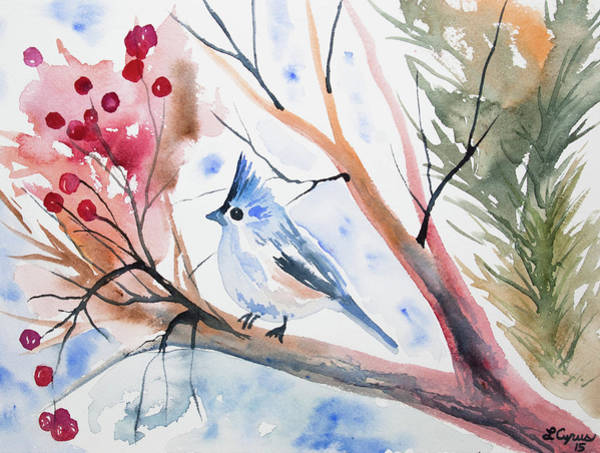Watercolor - Tufted Titmouse With Winter Berries Poster