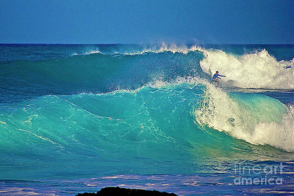 Waves And Surfer In Morning Light Poster