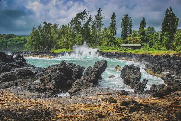 Waves Crashing Kawee Point Poster
