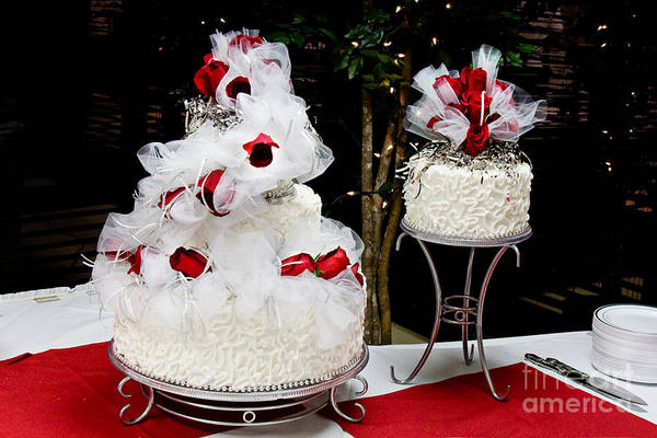 Wedding Cake And Red Roses Poster