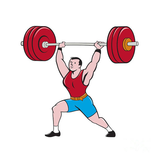 Weightlifter Lifting Barbell Isolated Cartoon Poster