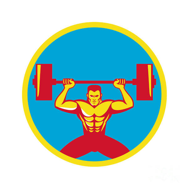 Weightlifter Lifting Weights Front Circle Retro Poster