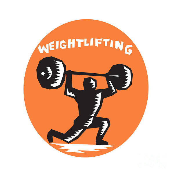 Weightlifter Lifting Weights Oval Woodcut Poster