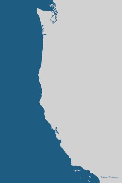 West Coast - Light Grey On Bahama Blue Poster