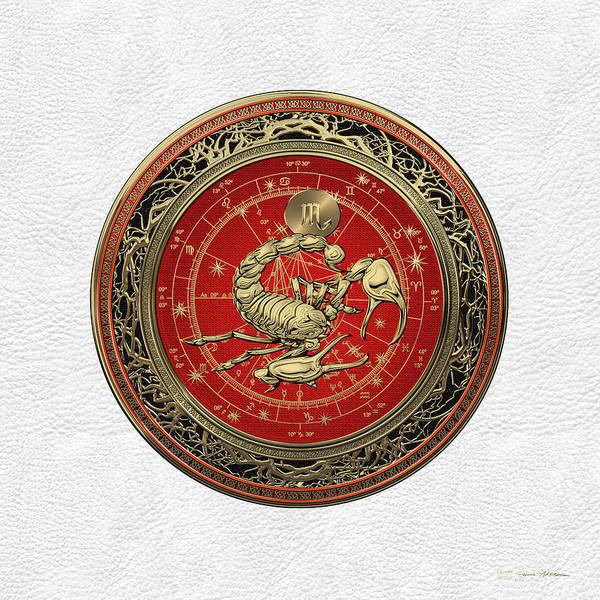 Western Zodiac - Golden Scorpio - The Scorpion On White Leather Poster