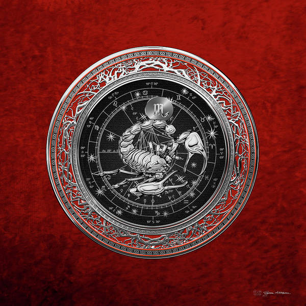 Western Zodiac - Silver Scorpio - The Scorpion On Red Velvet Poster