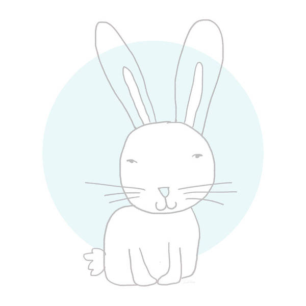 White Bunny On Blue- Art By Linda Woods Poster
