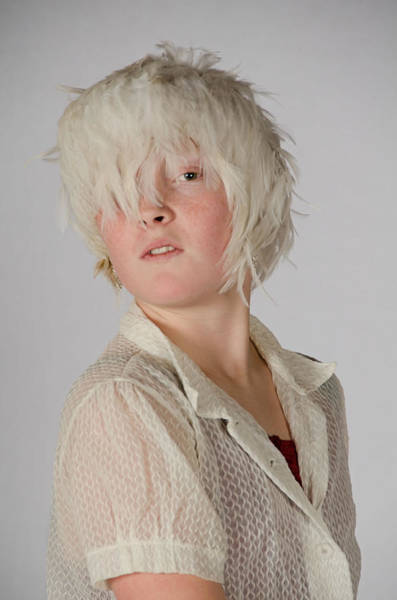 White Feather Wig Girl Poster