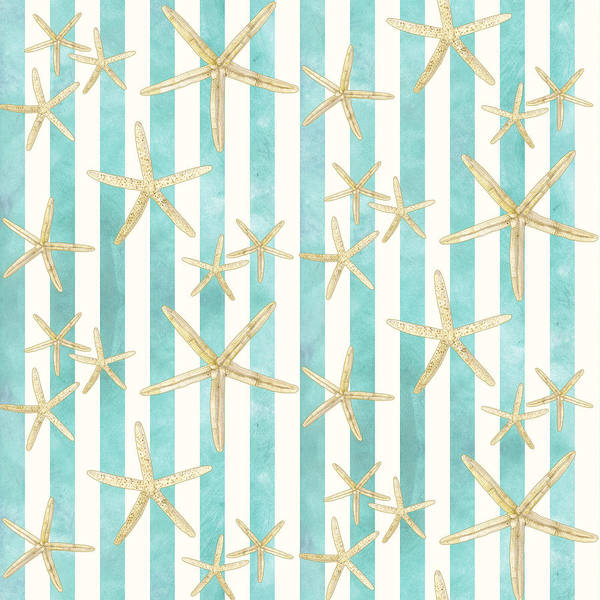 White Finger Starfish Watercolor Stripe Pattern Poster