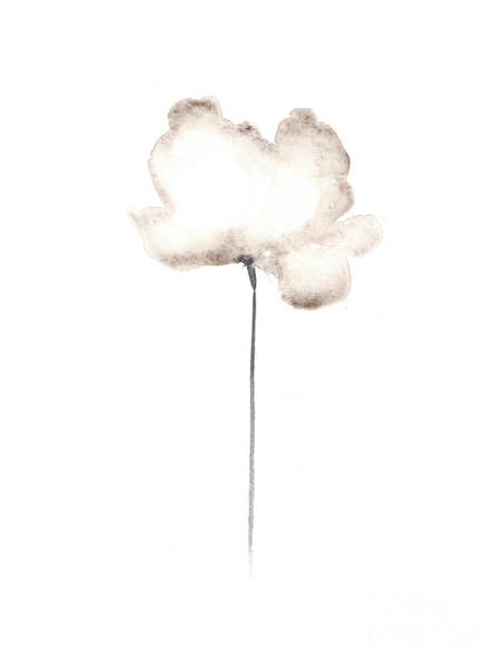 White Flower Minimalist Painting Poster