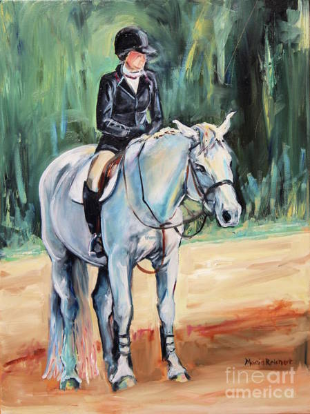 White Horse With Rider  Poster