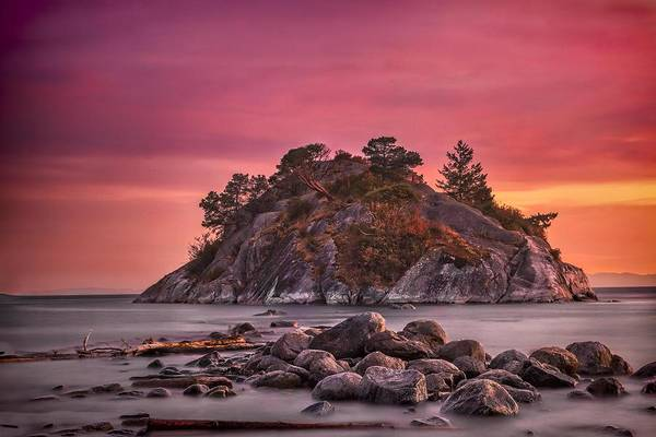 Poster featuring the photograph Whytecliff Island Sunset by Jacqui Boonstra