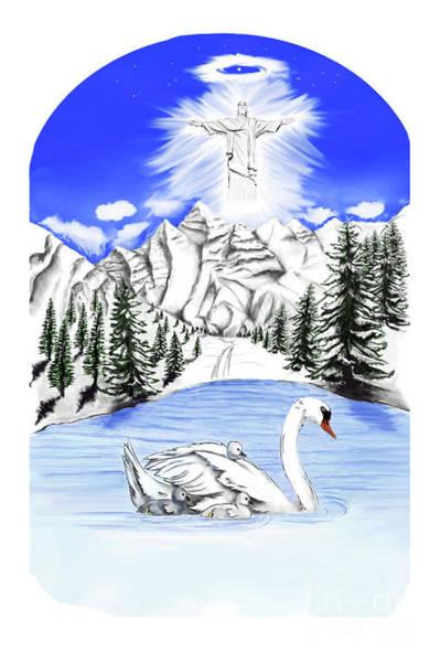 Wild Nature, Mountains Duck Christmas Trees Lake Poster
