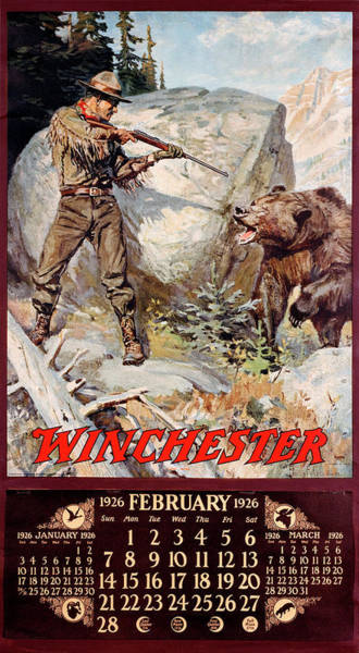 1926 Winchester Repeating Arms And Ammunition Calendar Poster
