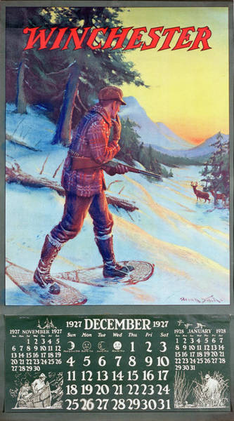 1927 Winchester Repeating Arms And Ammunition Calendar Poster