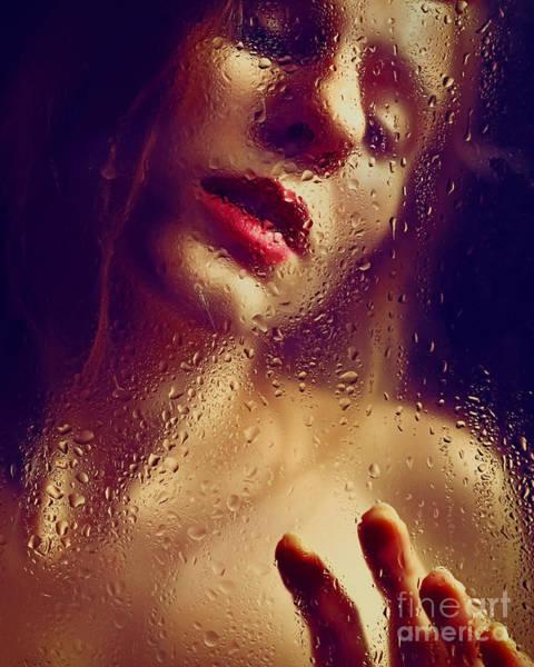 Window -  Sensual Woman Portrait Behind A Rainy Window Poster