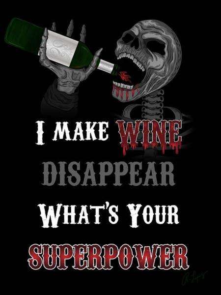 Wine Superpower Skeleton Fantasy Art Poster