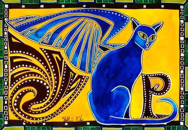 Winged Feline - Cat Art With Letter P By Dora Hathazi Mendes Poster