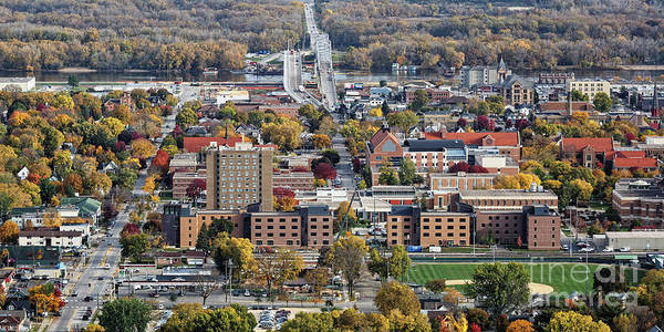 Poster featuring the photograph Winona Minnesota With University And Bridge by Kari Yearous