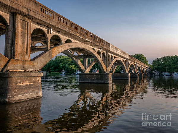 Poster featuring the photograph Winona Wagon Bridge With Boathouses by Kari Yearous
