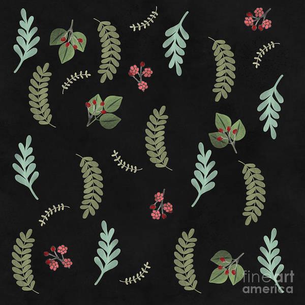 Winter Botanical Leaves, Berries, Nature Poster