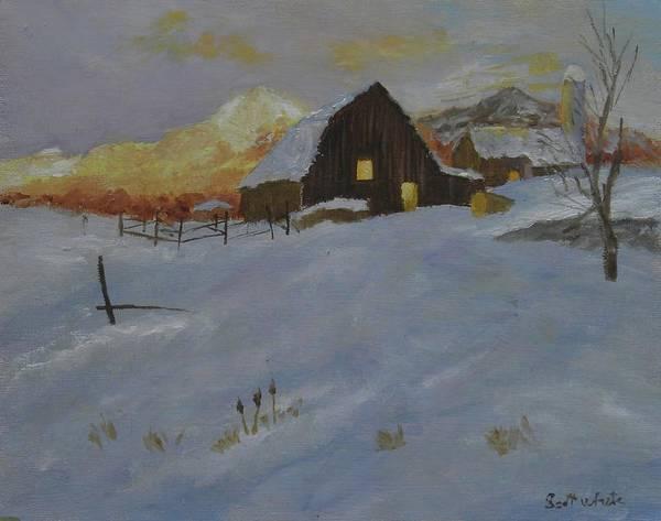 Winter Dusk On The Farm Poster