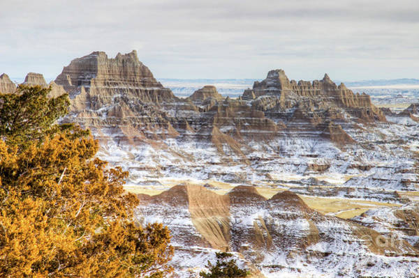 Poster featuring the photograph Winter In The Badlands by Bill Gabbert