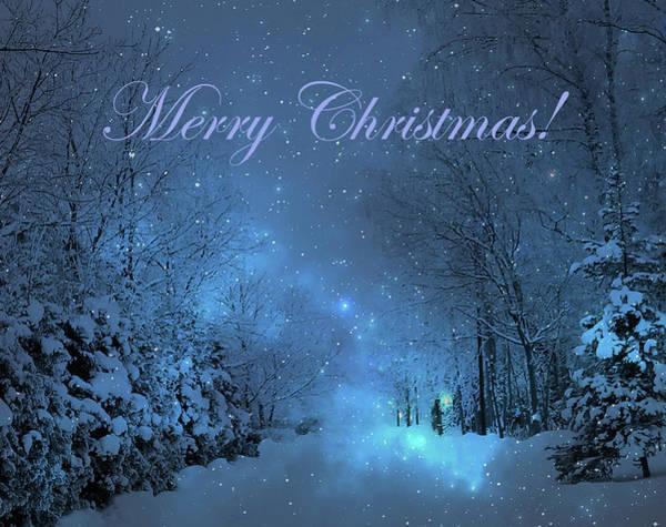 Winter Landscape Blue Christmas Card Poster