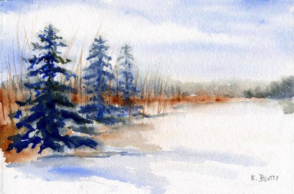 Winter Storm Watercolor Landscape Poster
