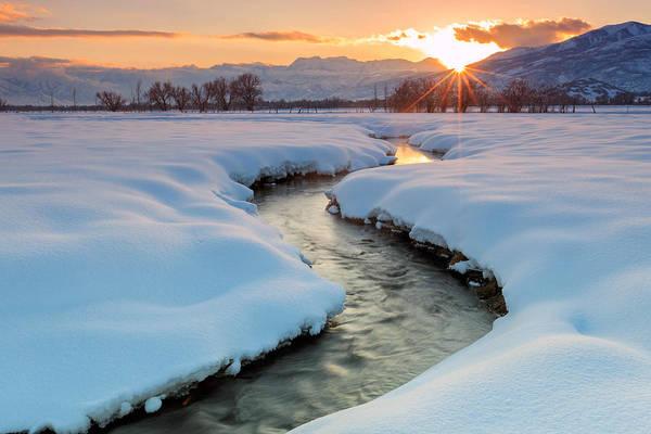 Winter Sunset In Rural Utah. Poster