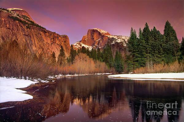 Winter Sunset Lights Up Half Dome Yosemite National Park Poster