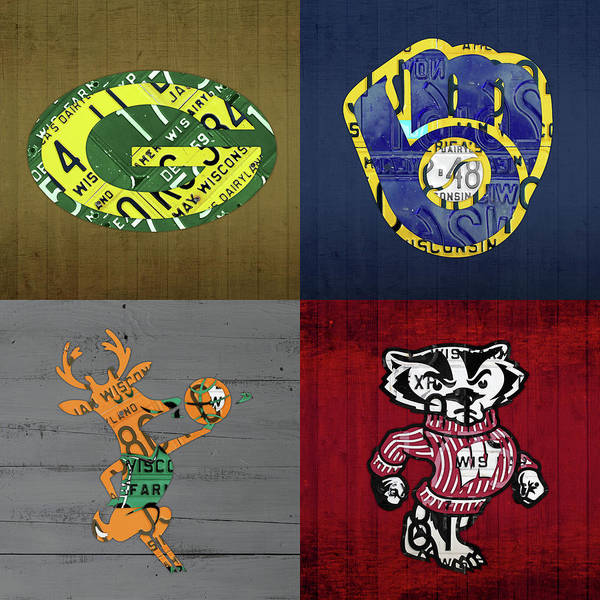 Wisconsin Sports Collage With Badgers Brewers Bucks License Plate Art V2 Poster