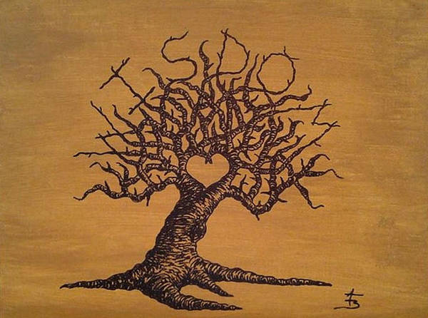 Poster featuring the drawing Wisdom Love Tree by Aaron Bombalicki