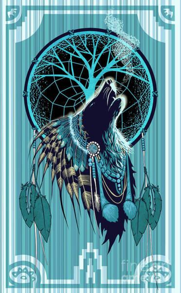 Wolf Indian Shaman Poster