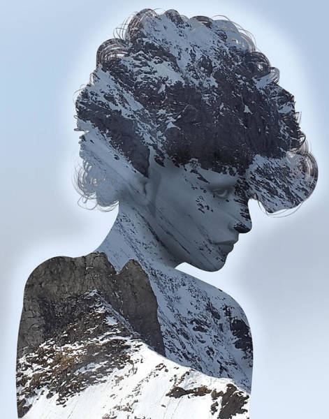 Woman And A Snowy Mountain Poster