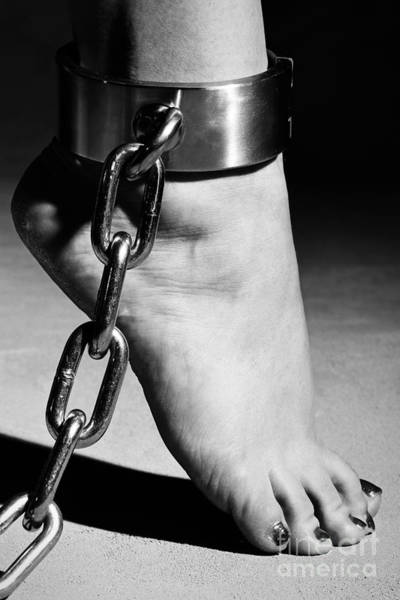 Woman Barefoot In Steel Cuffes Poster