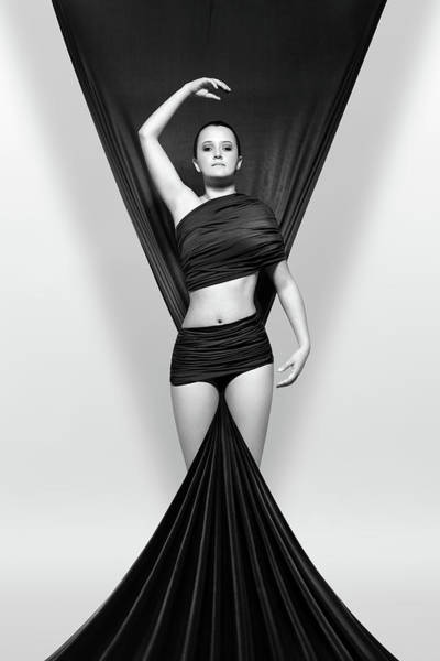 Woman Draped In Black Cloth Poster
