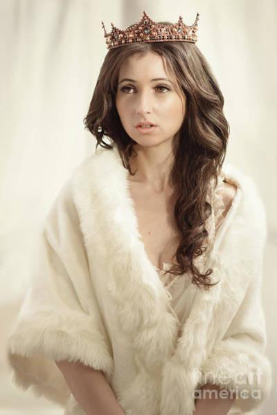 Woman In Fur Wrap Wearing Crown Poster
