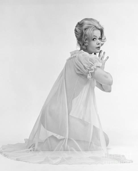 Woman Kneeling In Sheer Gown, C.1960s Poster
