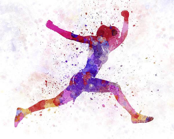 Woman Runner Running Jumping Shouting Poster