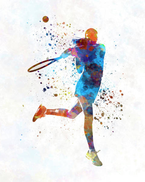 Woman Tennis Player 03 In Watercolor Poster
