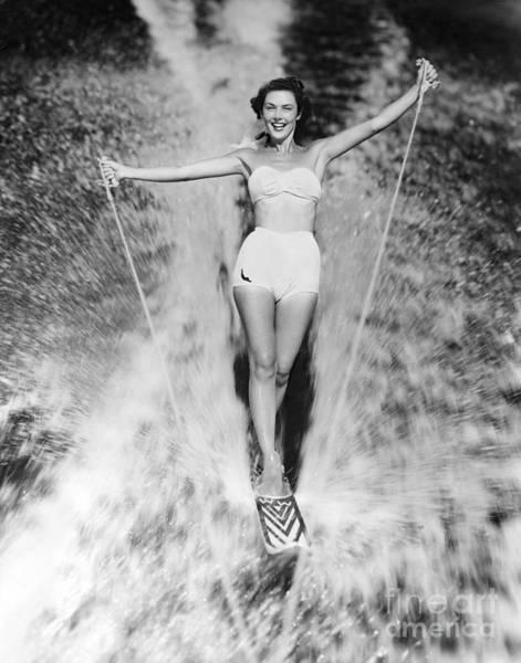 Woman Waterskiing Poster