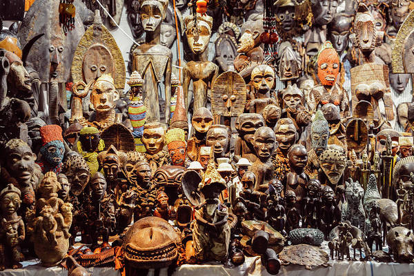 Wooden African Carvings Poster