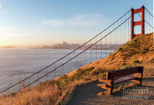 Wooden Bench Overlooking Downtown San Francisco With The Golden  Poster