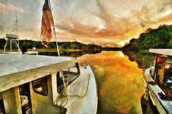 Workboats On San Damingo Creek Poster