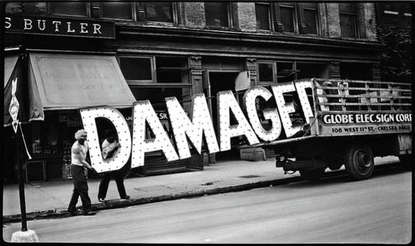 Workmen Hauling Damaged Sign Walker Evans Photo New York City 1930 Color Added 2008 Poster
