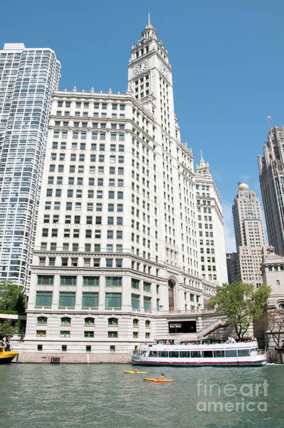 Wrigley Building Overlooking The Chicago River Poster