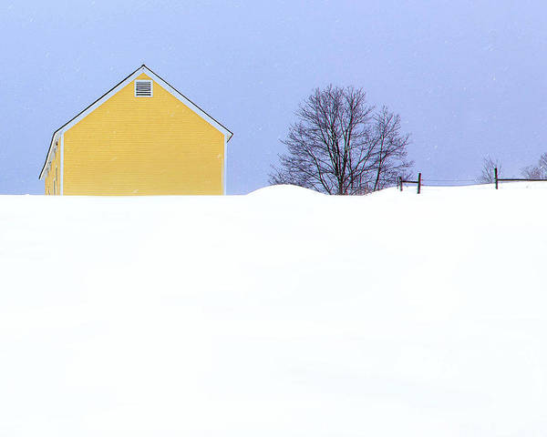 Yellow Barn In Snow Poster