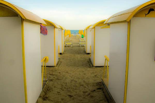 Yellow Beach Cabanas Poster